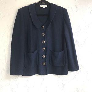 St John Santana Knit Floral Button Jacket Navy